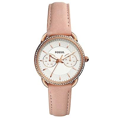 FOSSIL Tailor復古晶鑽雙環真皮手錶(ES4393)-白X玫瑰金框/35mm