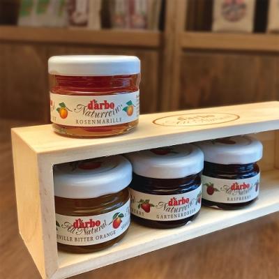 D'arbo德寶 45%果肉綜合果醬 四口味精美木盒組(杏桃/柑橘/覆盆莓/草莓)