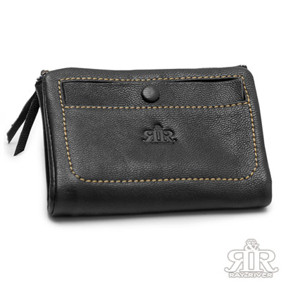 2R 溫柔鬆軟Leather羊皮短夾 星夜黑