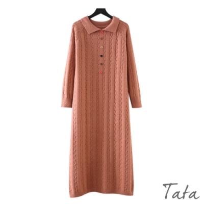 彩色排扣麻花針織洋裝 共二色 TATA-F