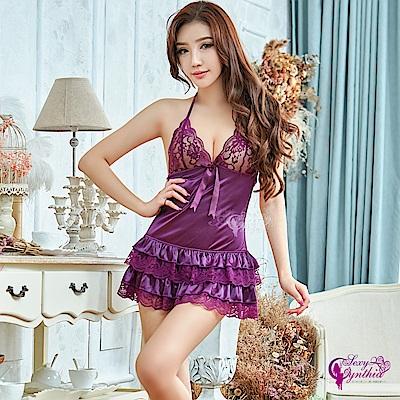 Sexy Cynthia情趣睡衣 性感深紫蕾絲網秒澎裙後綁帶二件式組-紫F