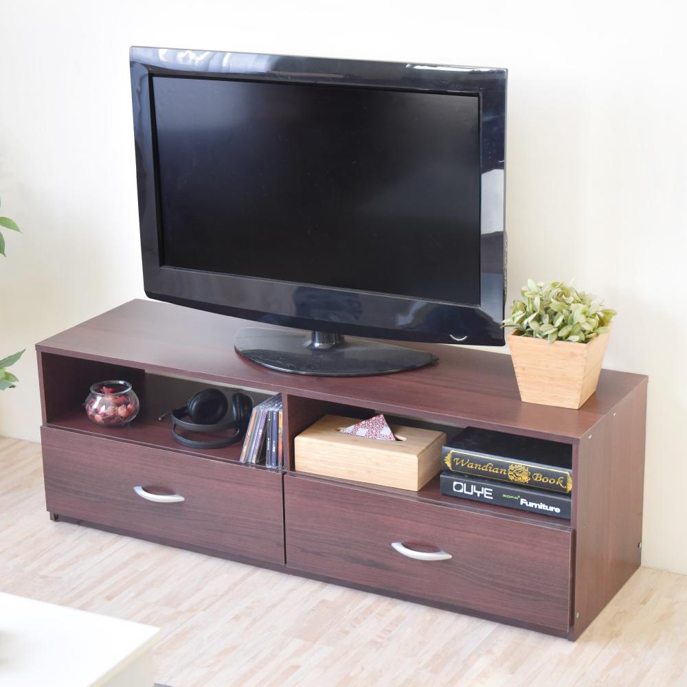 《HOPMA》DIY巧收現代二抽電視櫃-寬120 x深36 x高40cm