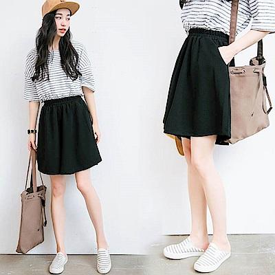 La Belleza素色鬆緊腰側口袋軟布質料五分褲寬褲裙