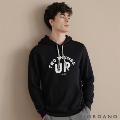 GIORDANO 男裝CHECKS連帽T恤 - 31 標誌黑