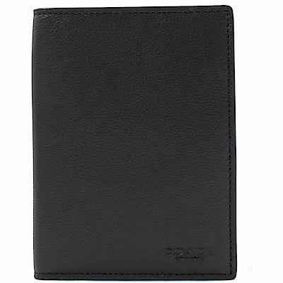 COACH 烙印LOGO牛皮對開式護照夾(黑)
