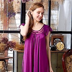 睡衣 彈性珍珠絲質 居家連身睡衣(95001)葡萄紫-蕾妮塔塔
