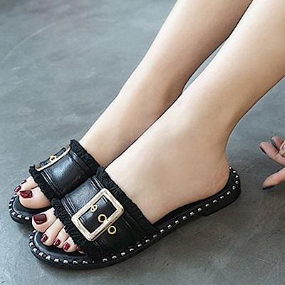 韓國KW美鞋館 韓國氣質不敗經典平底拖鞋-黑色