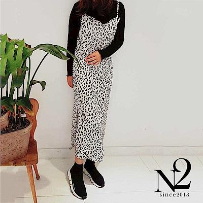 洋裝 正韓豹紋雪紡木耳邊假兩件開衩造型長裙(黑) N2