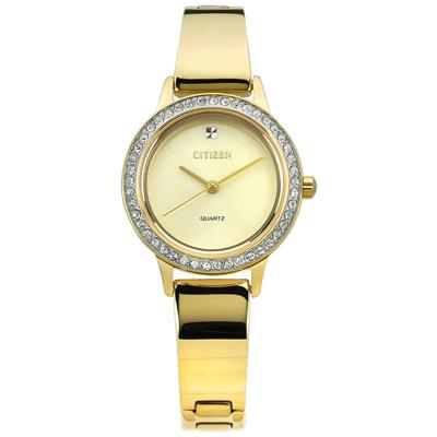CITIZEN 名媛晶鑽鑲圈礦石強化玻璃日本機芯不鏽鋼手環手錶-鍍金/23mm