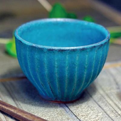 有種創意 - 日本益子燒 - 青綠燻刻紋茶杯-200ml