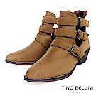 Tino Bellini 雙側鏤空多重釦帶中跟短靴 _ 棕