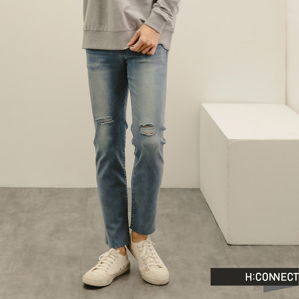 H:CONNECT 韓國品牌 男裝-自然刷色微彈割破牛仔褲