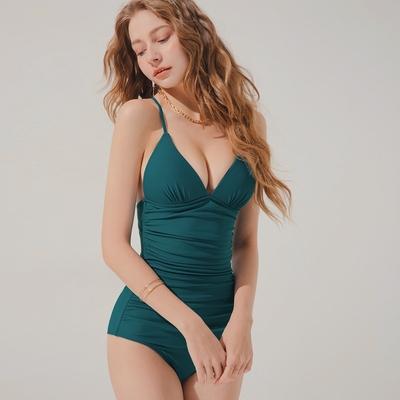 AIR SPACE 人間芭比塑腹細肩美背綁帶連身泳衣(厚杯加長款)(藍綠) 泳裝 連身 泳衣 中大尺碼