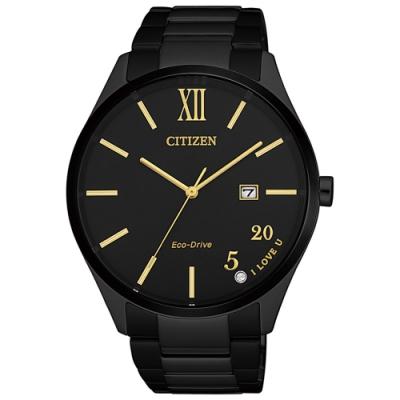 CITIZEN 星辰PAIR 對錶光動能鋼帶羅馬男款-黑黃(BM7357-87E)