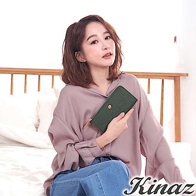 KINAZ 七彩露珠L型拉鍊長夾-茵草綠-繡球花系列-快