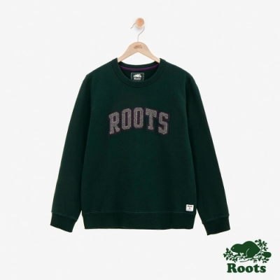 ROOTS男裝 - 雪尼爾LOGO刷毛圓領上衣-綠