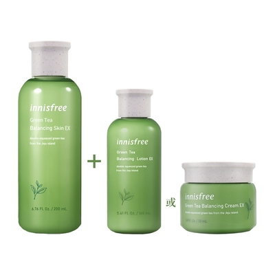 (2入任選)innisfree 綠茶水平衡調理液200ml+(面霜50ml 或 調理乳160ml)