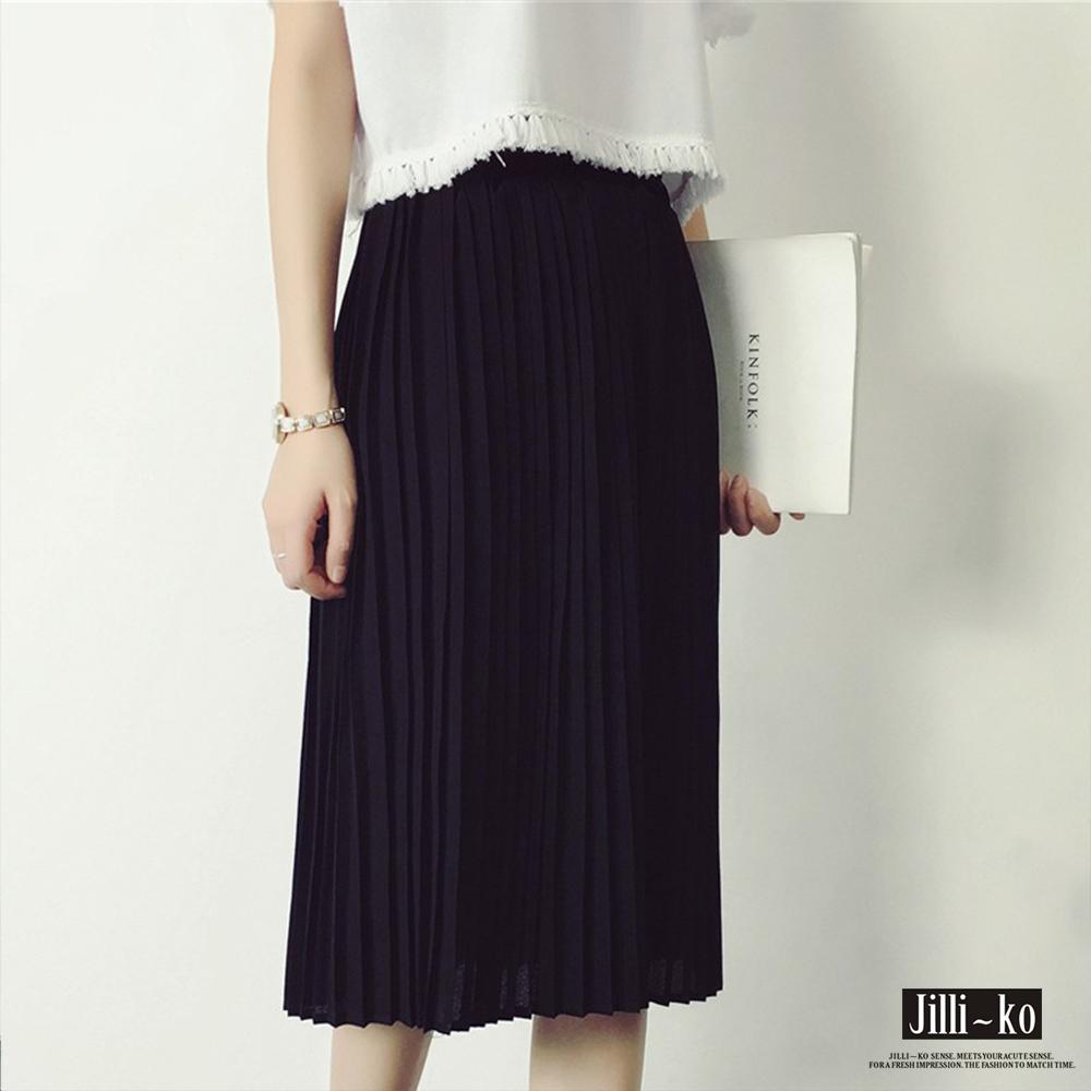 Jilli-ko 韓版中長雪紡壓摺裙- 黑/灰