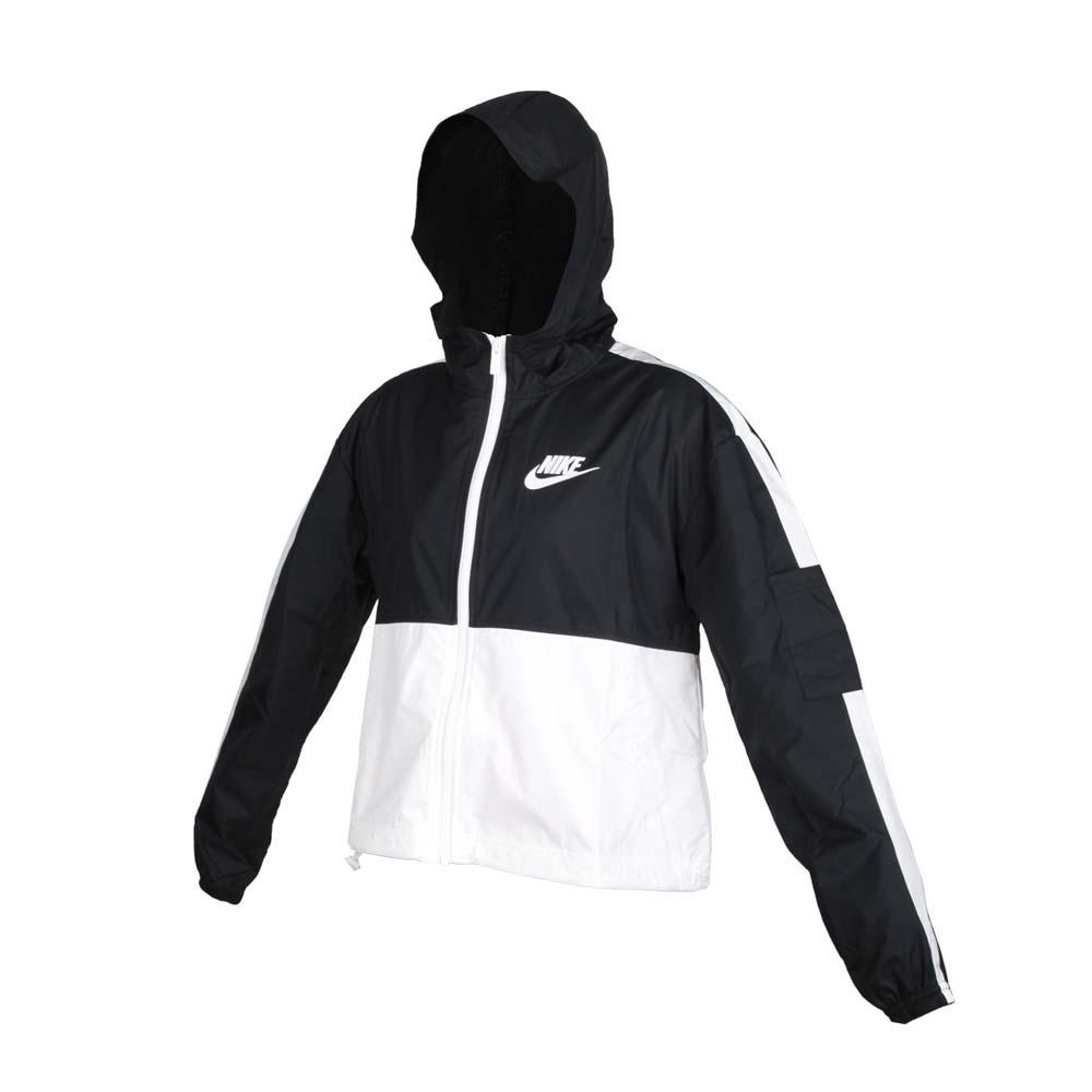 NIKE 女短版連帽風衣外套-輕量 SPORTSWEAR 防風 上衣 梭織 寬版 CJ7345-010 黑白