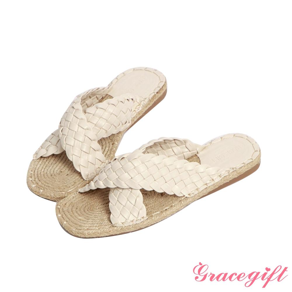 Grace gift-交叉麻編平底涼拖鞋 米白