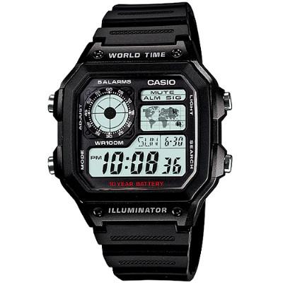 CASIO 雷霆世界武士休閒數位錶-膠帶/灰色液晶面(AE-1200WH-1A)/31mm