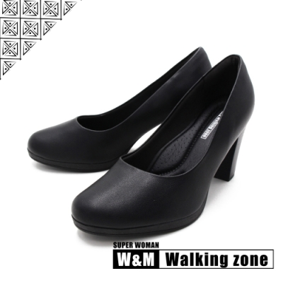 WALKING ZONE SUPER WOMAN系列 圓頭素面高跟鞋 女鞋- 黑(另有白.咖.卡其)