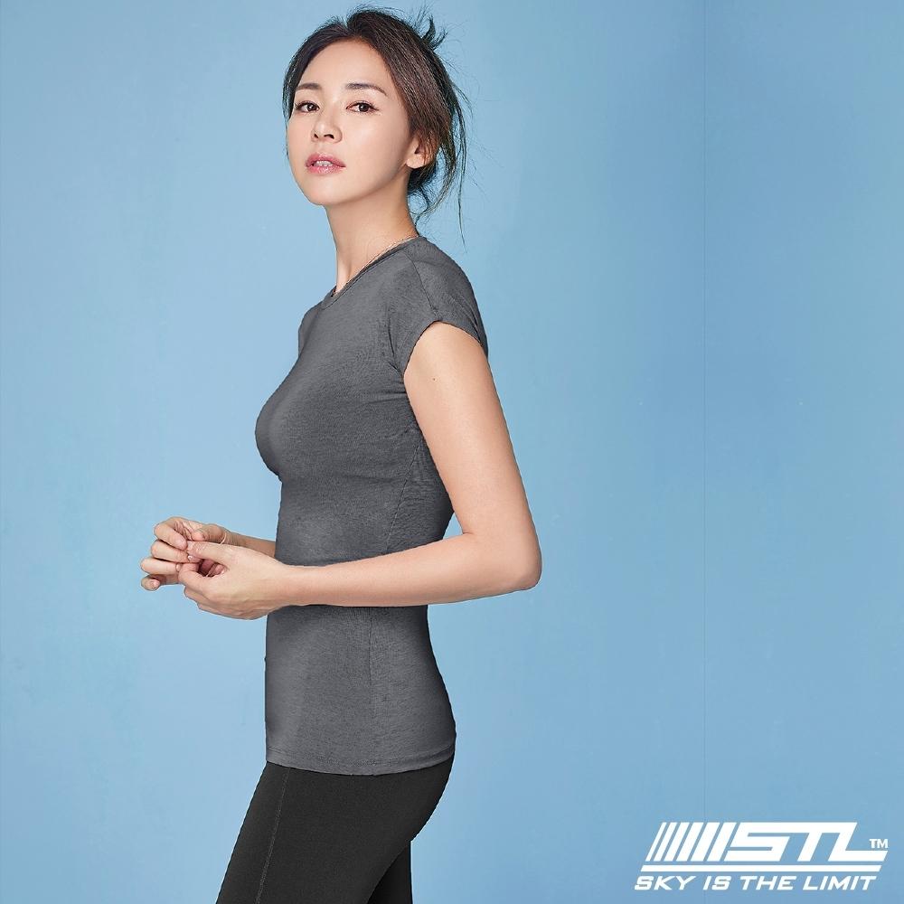 STL Essence Stretch Volume 韓國無肩線短袖機能素色上衣 本質伸展鐵灰