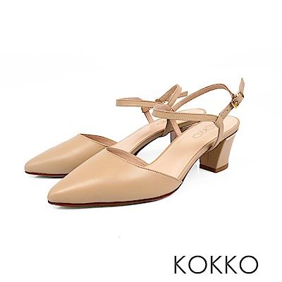KOKKO - 莫內花園後空真皮繫踝粗跟鞋-杏仁膚