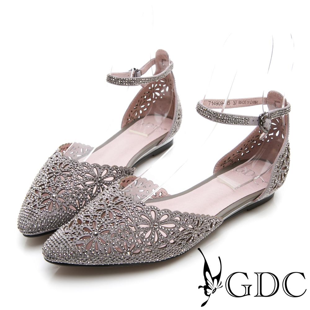 GDC-尖頭簍空水鑽甜美後包涼鞋-灰色