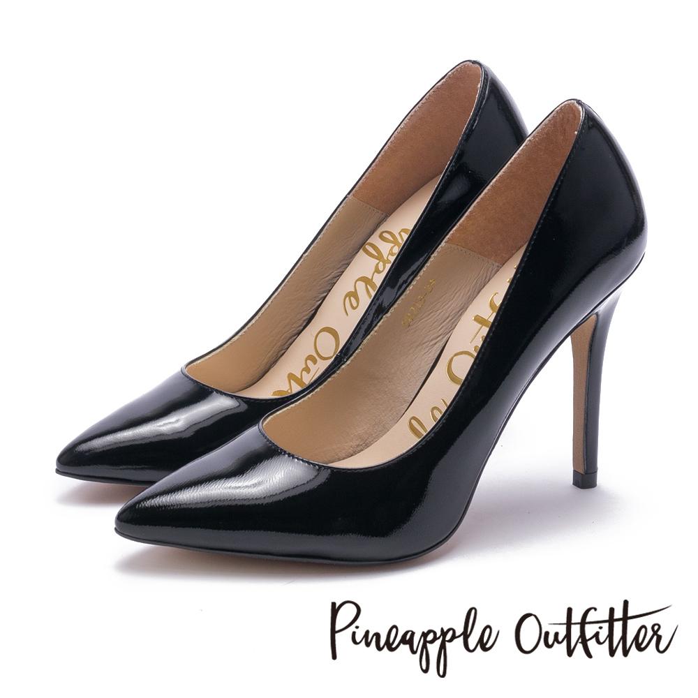 Pineapple Outfitter 性感尤物 素面尖頭高跟鞋-鏡黑
