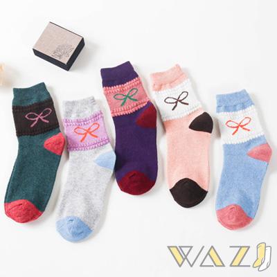 Wazi-蝴蝶結撞色寬條仿兔羊毛中筒襪 (1組五入)