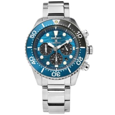 SEIKO 精工 PROSPEX 太陽能 潛水 三眼 防水 不鏽鋼手錶-藍色/43mm