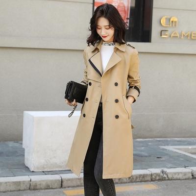 米蘭精品 風衣大衣長款外套-撞色繫帶雙排扣高腰女外套2色73yt17
