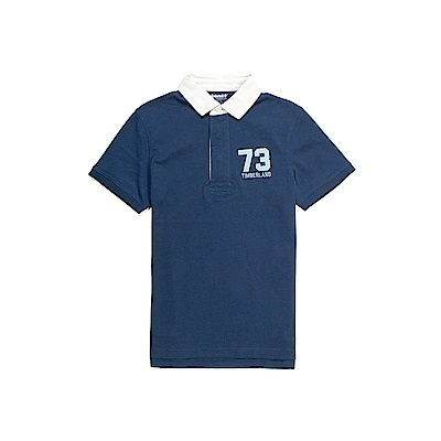 Timberland 男款深丹寧色衣領撞色短袖POLO衫