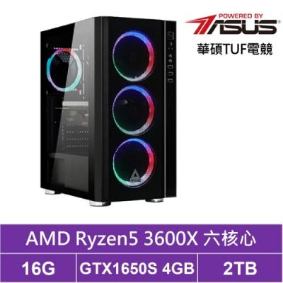 華碩B450平台[星爵戰神]R5六核GTX1650S獨顯電玩機