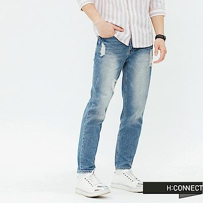 H:CONNECT 韓國品牌 男裝-吊環造型磨破牛仔褲-藍