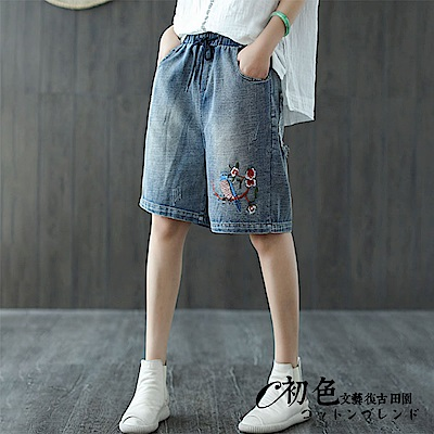 文藝刺繡綁帶牛仔短褲-藍色(F可選)    初色