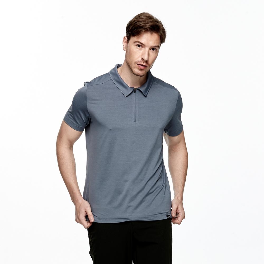【HAKERS 哈克士】男 抗UV吸溼排汗POLO衫(雲灰色)