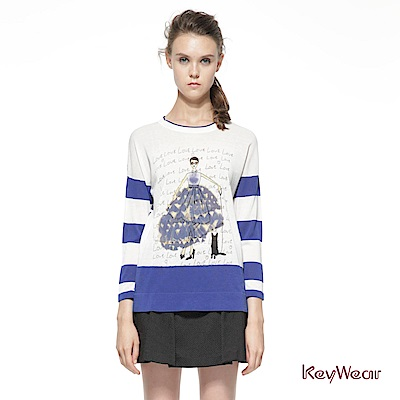 KeyWear奇威名品     趣味立體貼布長袖針織上衣-藍色
