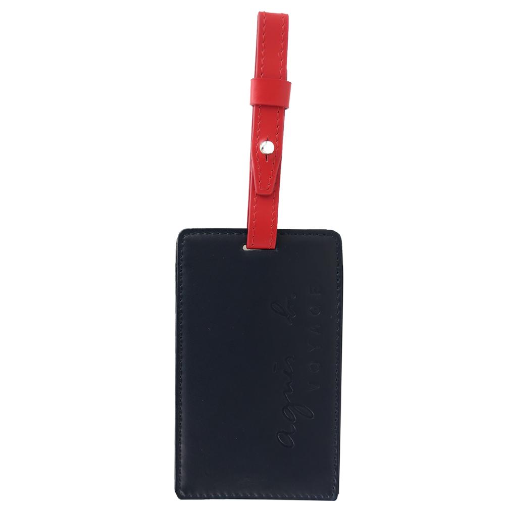 agnes b.烙印LOGO皮革行李吊牌(深藍)
