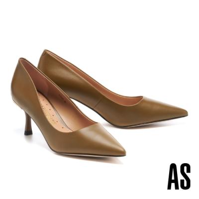 高跟鞋 AS 金屬風優雅經典羊皮尖頭高跟鞋-綠