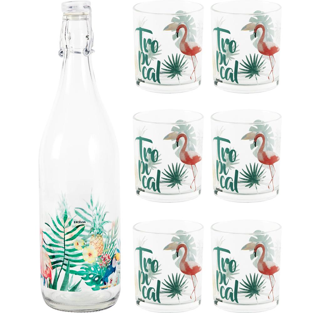 《EXCELSA》扣式密封水瓶+水杯組(熱帶雨林)