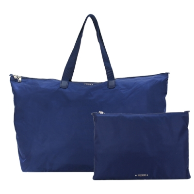 TUMI  VOYAGEUR 尼龍簡約摺疊手提旅行袋-午夜藍