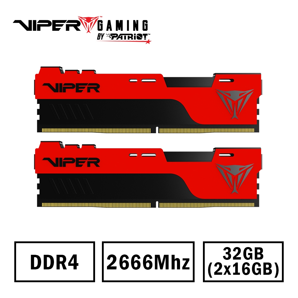 VIPER蟒龍 ELITE II DDR4 2666 32G(16Gx2)桌上型超頻記憶體 (星睿奇公司貨) (PVE2432G266C6K)