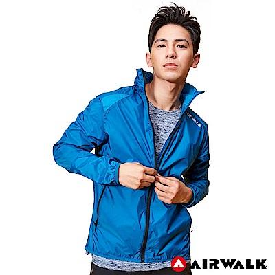 【AIRWALK】男款拼接連帽外套-中藍