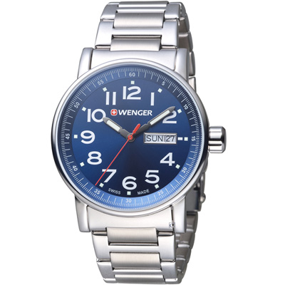 WENGER Attitude 極限特工時尚腕錶(01.0341.105)藍/42mm