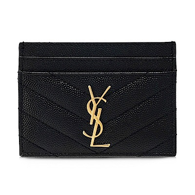 YSL Monogram 金色Logo 魚子醬牛皮V字縫線黑色卡片夾