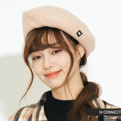 H:CONNECT 韓國品牌 配件 - 側logo絨面貝雷帽 - 卡其