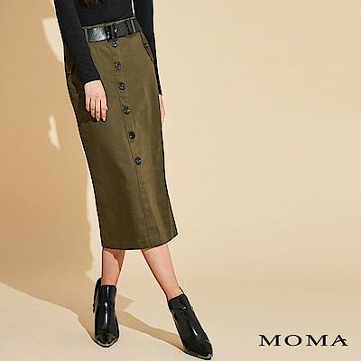 MOMA 排釦腰帶長裙