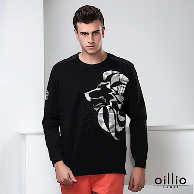歐洲貴族 oillio 長袖T恤 霸氣獅子 簡約風格 黑色